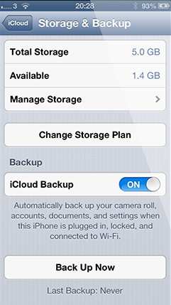 Turn iCloud backup on and back up now