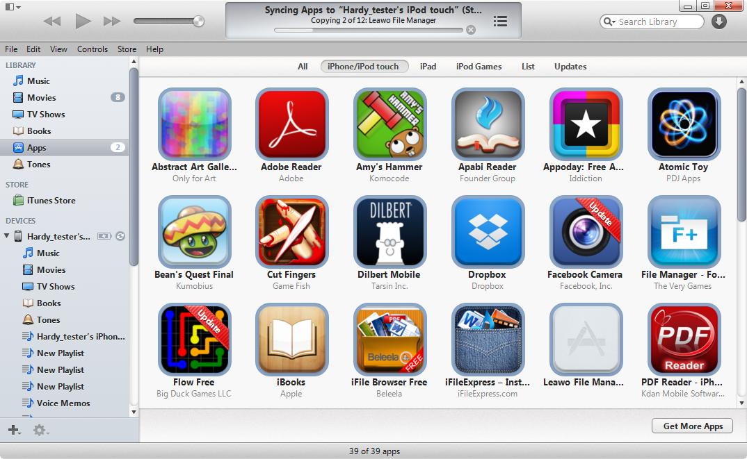 Si utiliza iTunes para sincronizar aplicaciones con el iPod touch