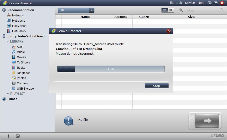 La transferencia de las aplicaciones con Leawo iTransfer