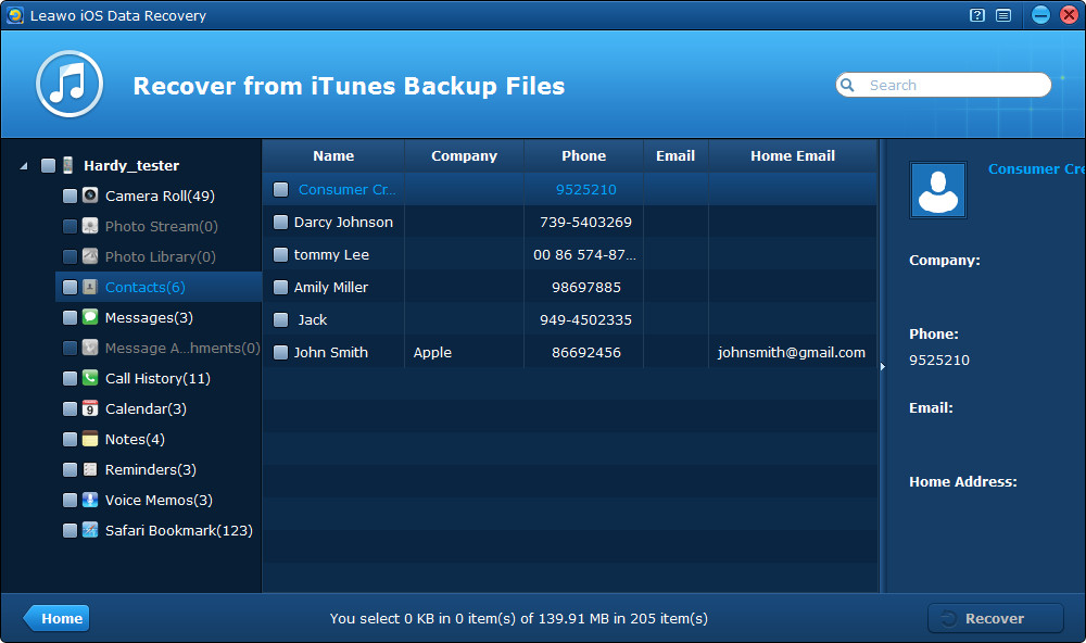 Preview contacts in iTunes backup