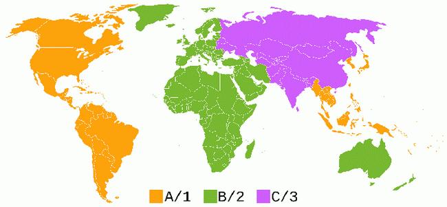 Region code of Blu-ray disc