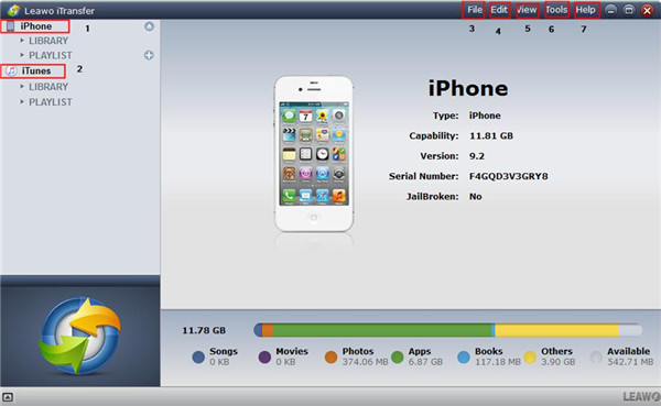 Run Leawo iTransfer and Connect iPhone to Computer