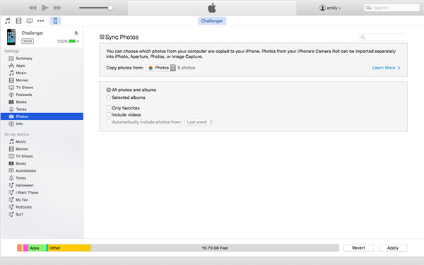 Transfer Photos from iPhoto to iPhone with iTunes on Mac