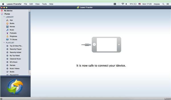 Run Leawo iTransfer and Plug iPhone into Mac