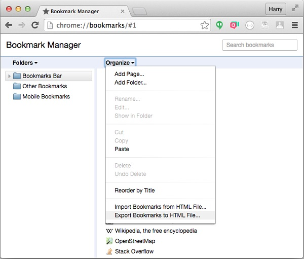 how to export bookmarks in chrome for mac