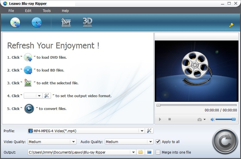 Click to view Leawo Blu-ray Ripper 4.6.0.0 screenshot