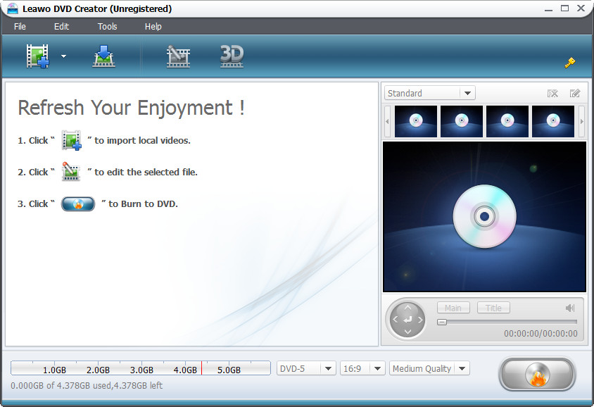 Leawo MOV to DVD Converter Screenshot