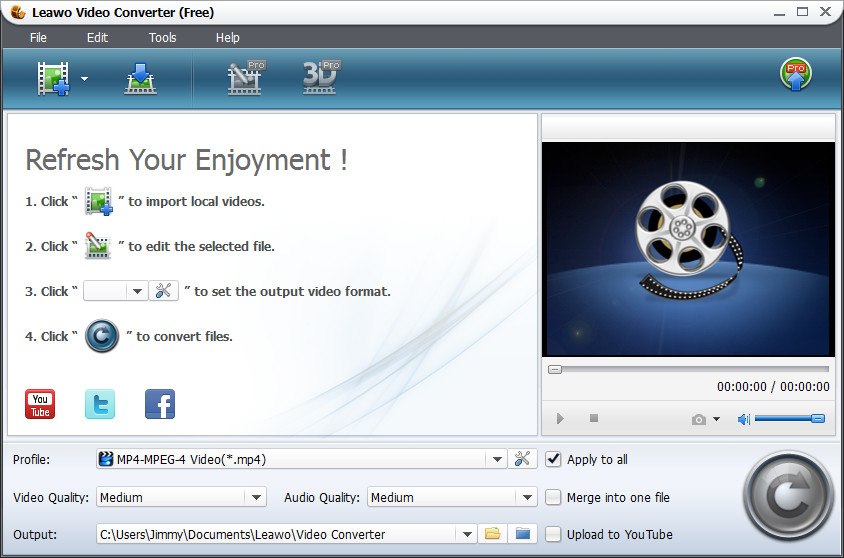 A fully free video to FLV and MP4 converter