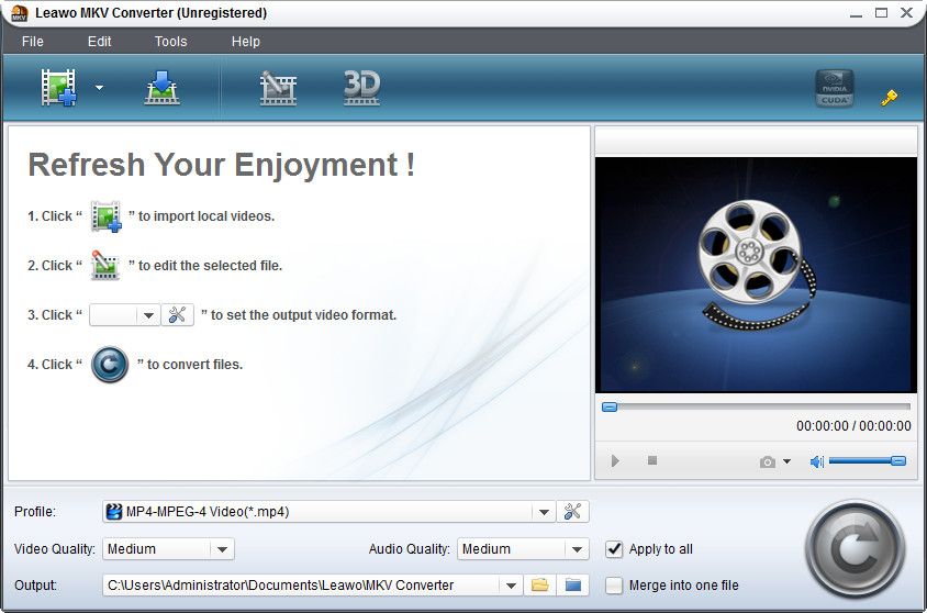 Click to View Full ScreenshotLeawo MKV Converter 4.0.0.0 screenshot