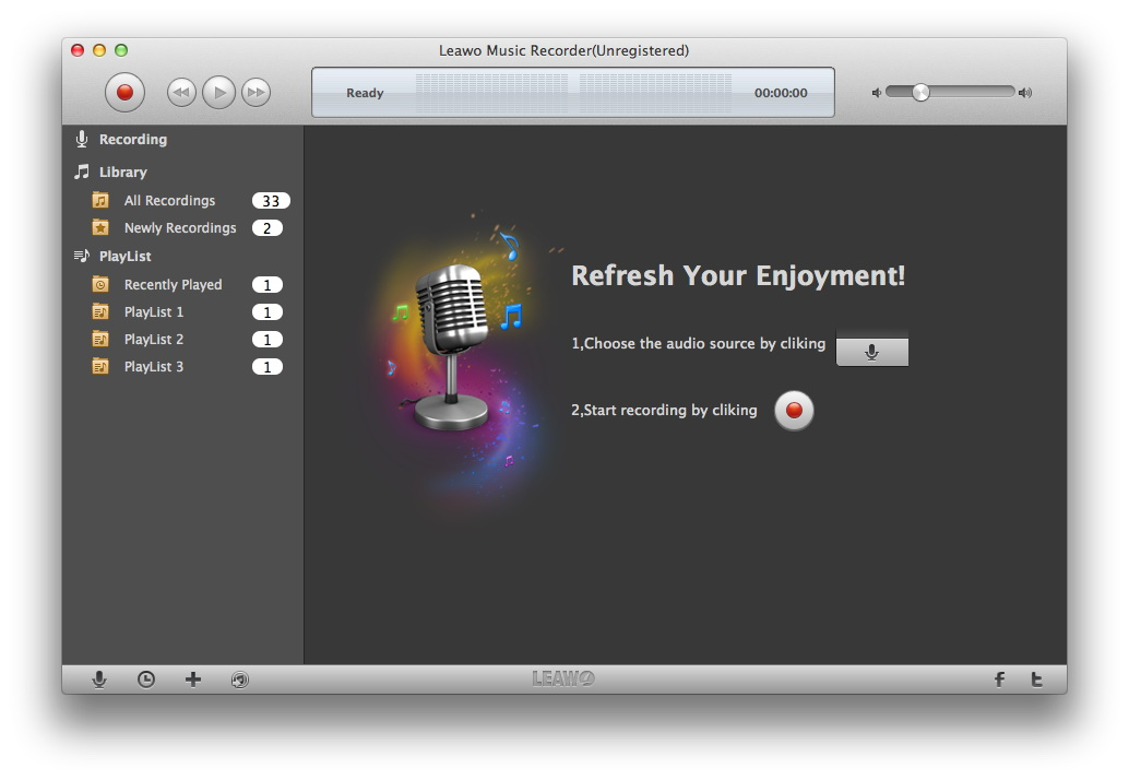 Leawo Mac Music Recorder records audio on Mac