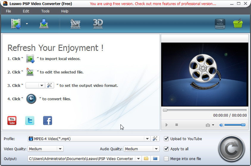 Leawo Free AVI to PSP Converter screenshot