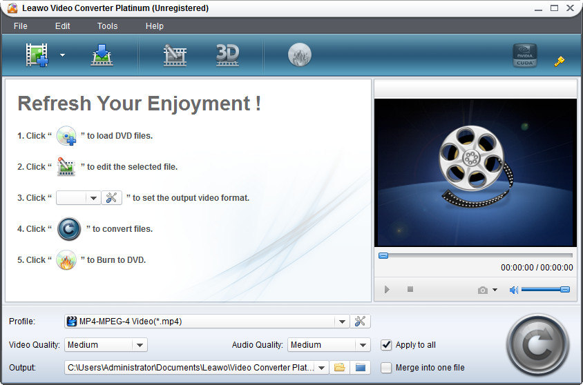 Click to view Leawo Video Converter Platinum 5.0.0.0 screenshot