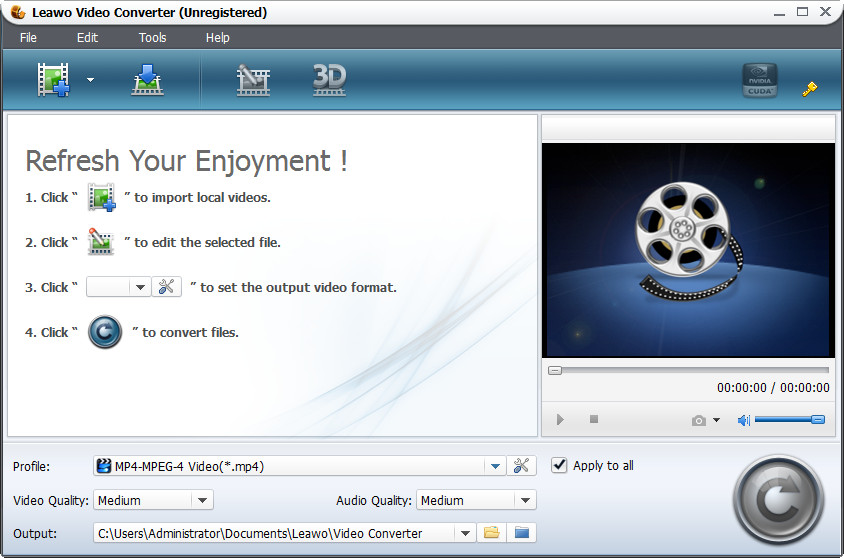 Screenshot of Leawo MOV to AVI Converter 5.3.0.0